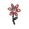 Fiore Rosso e Blu Ricamato