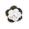 Fiore all'Uncinetto - Verde Militare e Bianco
