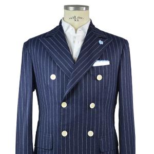 Cappotto in Flanella di Lana – Doppiopetto gessato Blu – G Inglese Store ccc7a899364
