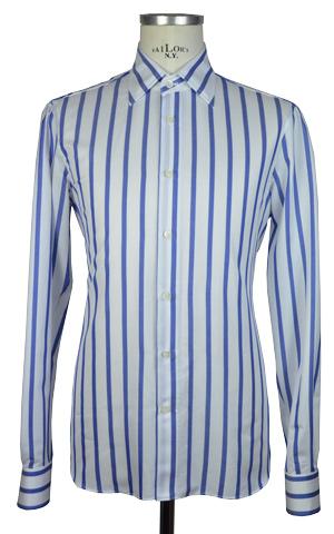 design senza tempo 141f5 a9060 Camicia in twill di cotone 180/2 – Rigata larga Azzurra